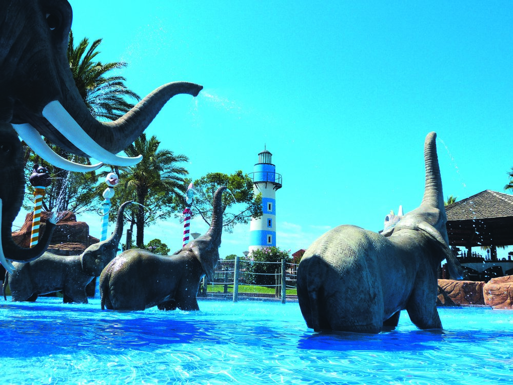 Elephants in the pool at Cambrils Park