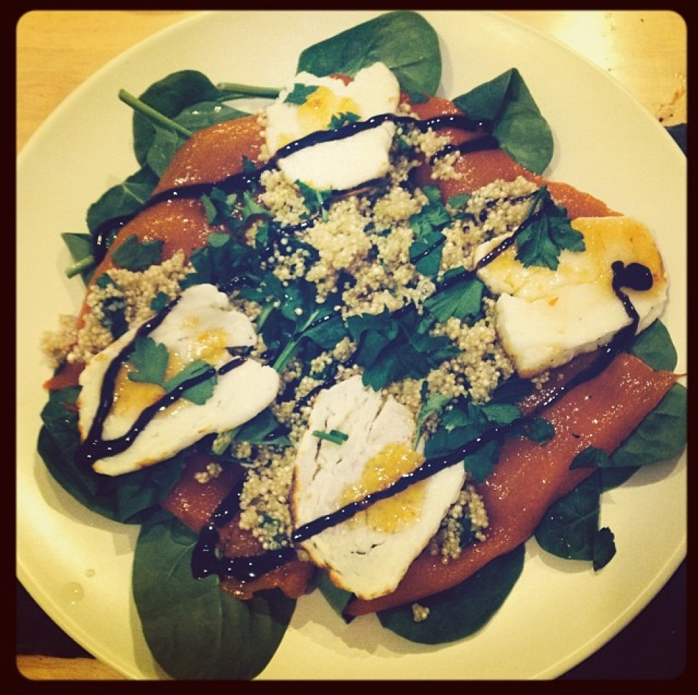 Warm quinoa salad with grilled halloumi & roasted peppers