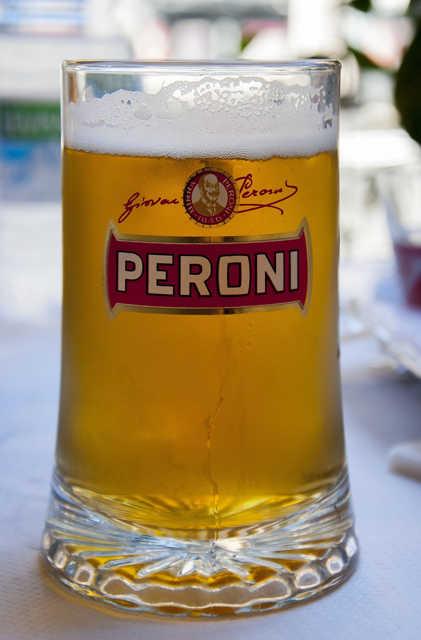 Peroni Red beer served in Italy